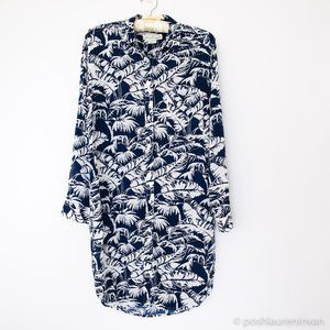 H&M Tropical Print Shirt-Dress Swimsuit Cover Up